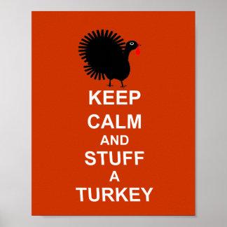 Fun Christmas Keep Calm And Stuff A Turkey Poster