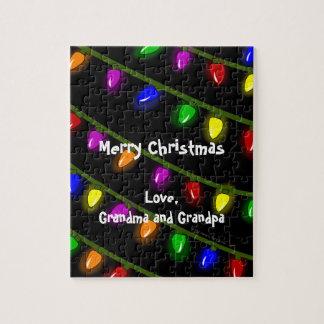 Fun Christmas Lights Custom Message Jigsaw Puzzle