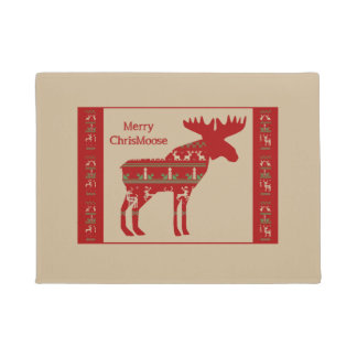 Fun Christmas Moose in Sweater Design Chrismoose Doormat