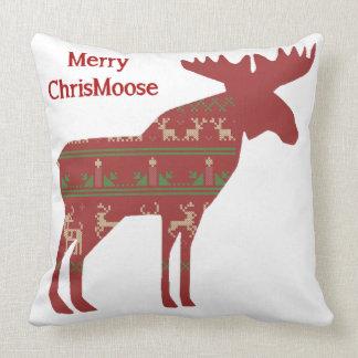 Fun Christmas Moose in Sweater Design Chrismoose Pillow