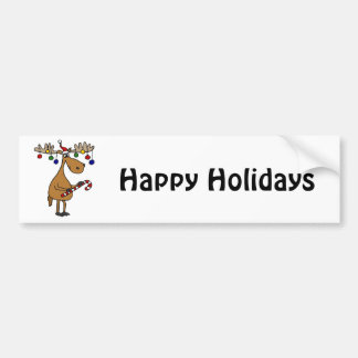 Fun Christmas Moose with Candy Cane and Ornaments Bumper Sticker