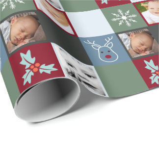 Fun Christmas Personalized Green Grey Red Wrapping Paper
