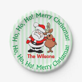 Fun Christmas Personalized Santa Reindeer Plates