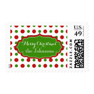 Fun Christmas Polka Dots red and green pattern Postage Stamp