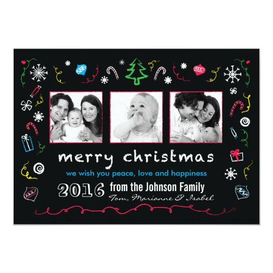 Fun Christmas Sketches Card with Kid Photos