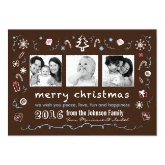 "Fun Christmas Sketches Card with Kid Photos 5"" X 7"" Invitation Card"