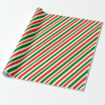 [ Thumbnail: Fun Christmas Themed Colors Stripes Pattern Wrapping Paper ]