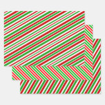[ Thumbnail: Fun Christmas-Themed Colours Stripes Pattern Wrapping Paper Sheets ]
