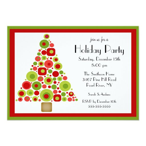 Fun Christmas Tree Christmas Party Invitation