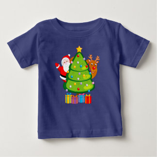 Fun Christmas tree with Santa Claus and Rudolph, Baby T-Shirt