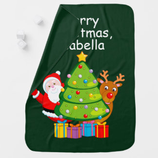 Fun Christmas tree with Santa Claus and Rudolph, Receiving Blanket