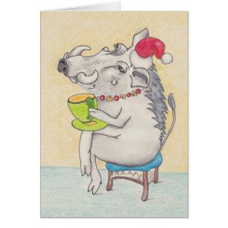 Fun Christmas warthog with teacup Cards