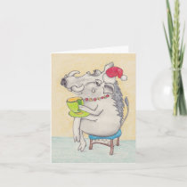 Fun Christmas warthog with teacup Holiday Card