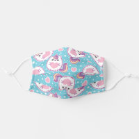 Fun Chubby Unicorn Kitty Cloth Face Mask