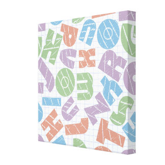 Fun Chunky Cartoon Letters Design Gallery Wrapped Canvas