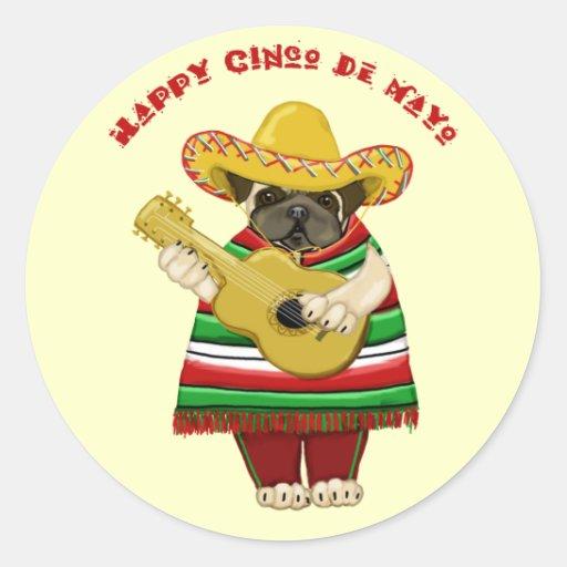 Fun Cinco de Mayo Pug Stickers