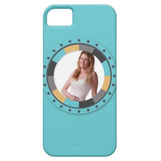 Fun Circle frame - Masculine Mustard on aqua iPhone SE/5/5s Case