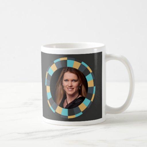 Fun Circle frame - Masculine Mustard on black Coffee Mug