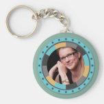Fun Circle frame - Masculine Mustard on blue green Basic Round Button Keychain