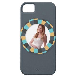 Fun Circle frame - Masculine Mustard on blue grey iPhone SE/5/5s Case