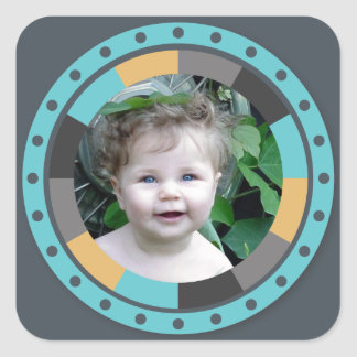 Fun Circle frame - Masculine Mustard on blue grey Square Sticker