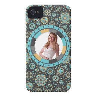 Fun Circle frame - Masculine Mustard on pattern iPhone 4 Case-Mate Case