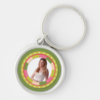 Fun Circle frame - pink leaf on green Keychain