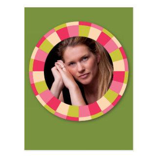 Fun Circle frame - pink leaf on green Postcard