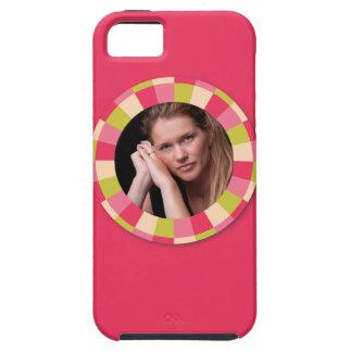 Fun Circle frame - pink leaf on hot pink iPhone SE/5/5s Case