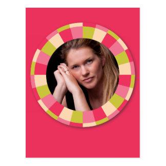 Fun Circle frame - pink leaf on hot pink Postcard