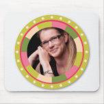 Fun Circle frame - pink leaf on light Mousepads