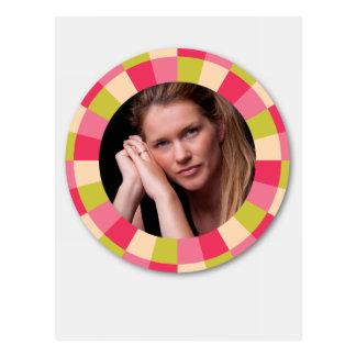 Fun Circle frame - pink leaf on light Postcard