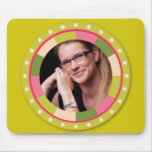 Fun Circle frame - pink leaf on lime Mouse Pads