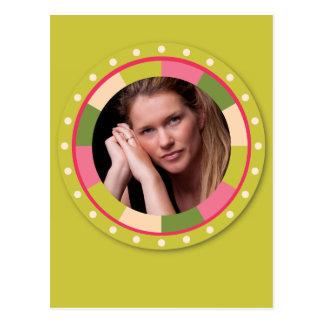 Fun Circle frame - pink leaf on lime Postcard