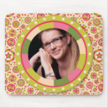Fun Circle frame - pink leaf on pattern Mousepad