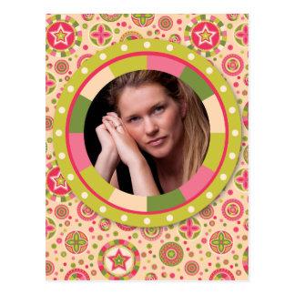 Fun Circle frame - pink leaf on pattern Postcard