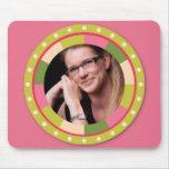 Fun Circle frame - pink leaf on pink Mouse Pad