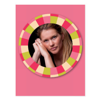 Fun Circle frame - pink leaf on pink Postcard
