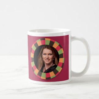 Fun Circle frame - sunset leaf on dark red Coffee Mug