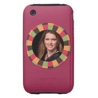 Fun Circle frame - sunset leaf on dark red iPhone 3 Tough Case
