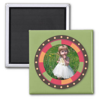 Fun Circle frame - sunset leaf on green 2 Inch Square Magnet
