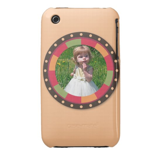 Fun Circle frame - sunset leaf on light orange Case-Mate iPhone 3 Case
