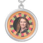 Fun Circle frame - sunset leaf on orange Necklaces
