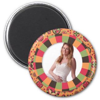 Fun Circle frame - sunset leaf on pattern 2 Inch Round Magnet