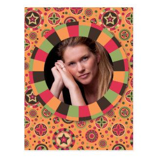 Fun Circle frame - sunset leaf on pattern Postcard