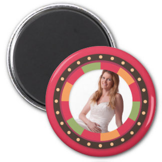 Fun Circle frame - sunset leaf on red 2 Inch Round Magnet