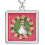 Fun Circle frame - sunset leaf on red Jewelry