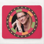 Fun Circle frame - sunset leaf on red Mouse Pad
