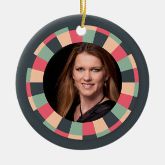 Fun Circle frame - vintage candy - dark Ceramic Ornament