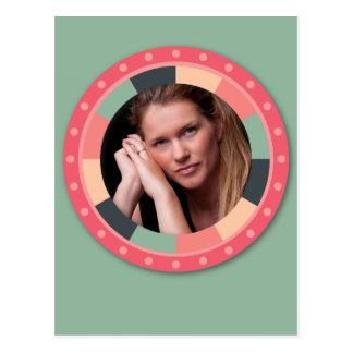 Fun Circle frame - vintage candy - green Postcard
